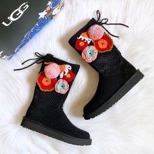 UGG Floral Crochet Pom Pom Knit Boots